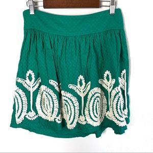 Anthropologie Nick & Mo Green Applique Mini Skirt